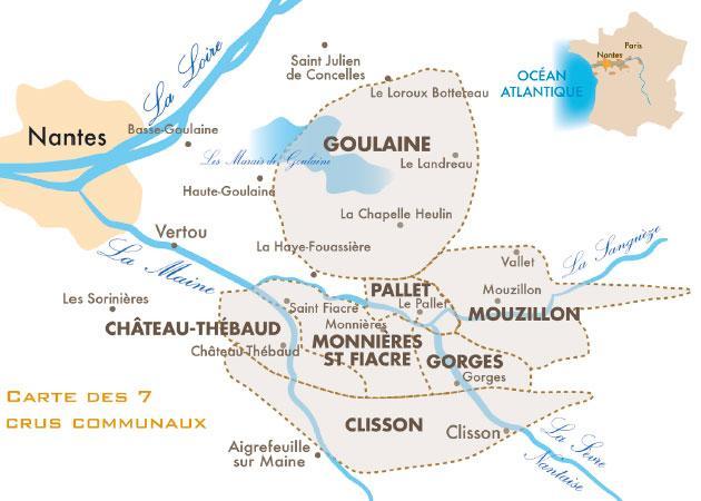carte des crus communaux du Muscadet